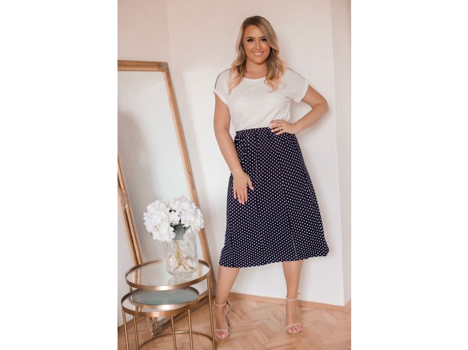 Tmavě-modrá tečkovaná sukně (Veľkosť XXXXL)