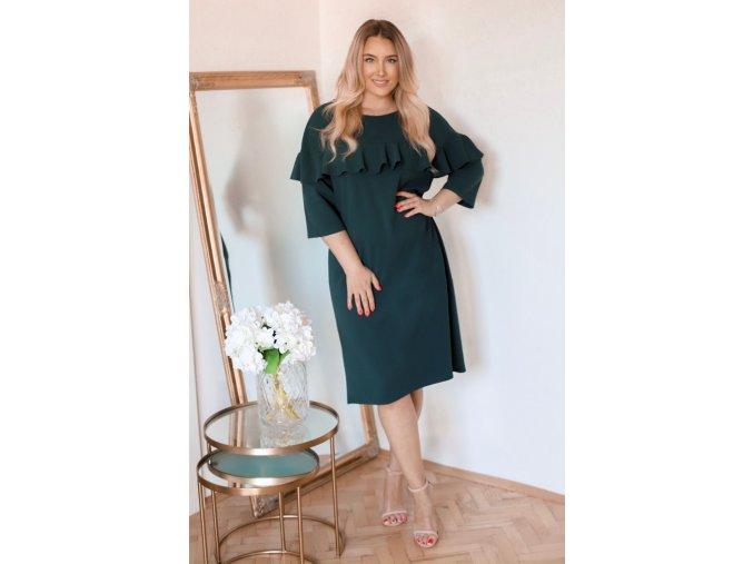 Tmavě-zelené šaty s volánem (Veľkosť XXXXL)