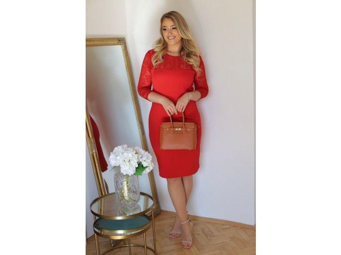 Červené šaty s krajkovým vrchem (Veľkosť XXXXL)