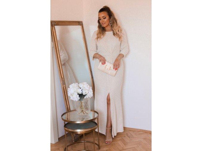Dlouhé krémové třpytivé šaty s dlouhým rukávem (Veľkosť XXXXL)