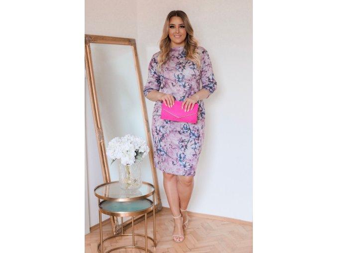 Růžovo-šedé květinové šaty po kolena (Veľkosť XXXXL)