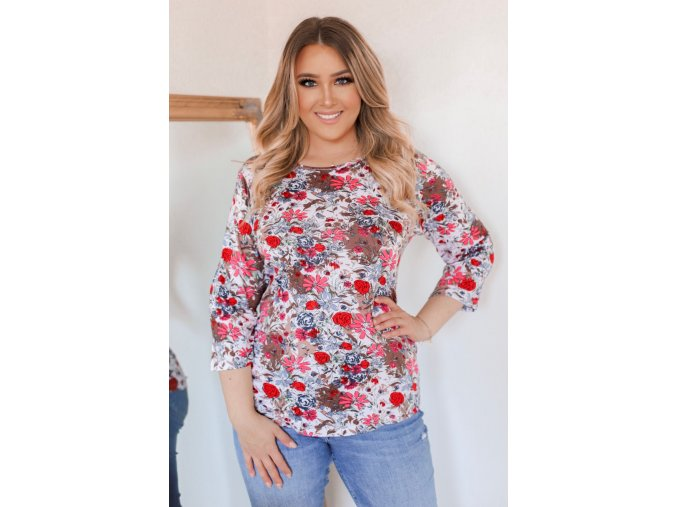 Květinové tričko s tříčtvrtečním rukávem - hnědá (Veľkosť XXXL)