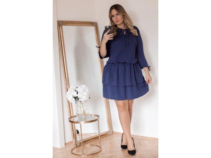 Tmavě-modré šaty s nařasenou sukní (Veľkosť XXL)