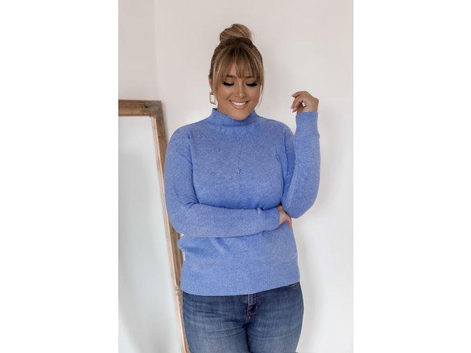 Modrý svetr s jemným vzorem (Veľkosť XXL/XXXL)