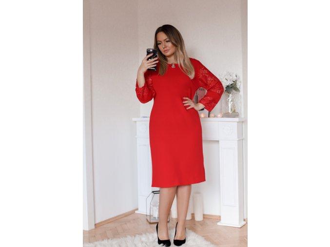 Červené šaty s krajkou a stříbrnou aplikaci (Veľkosť XXXXL)