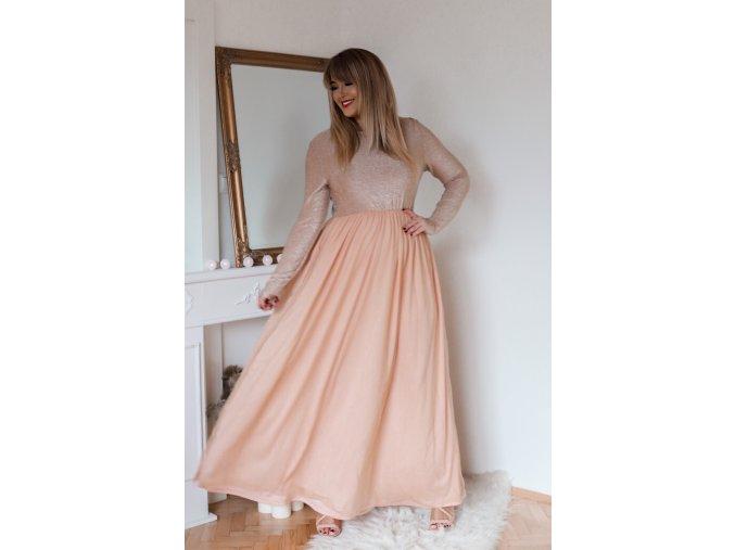 Broskvové šaty s tylovou sukní a dlouhým rukávem (Veľkosť XL)
