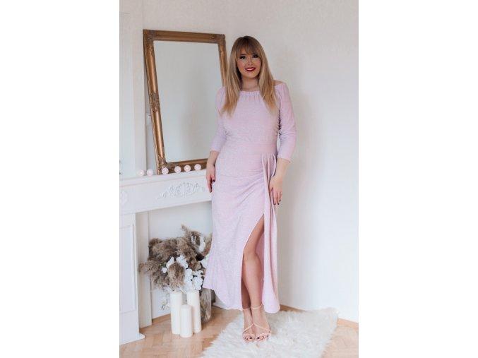 Světlo-růžové šaty s metalickým efektem (Veľkosť XL)