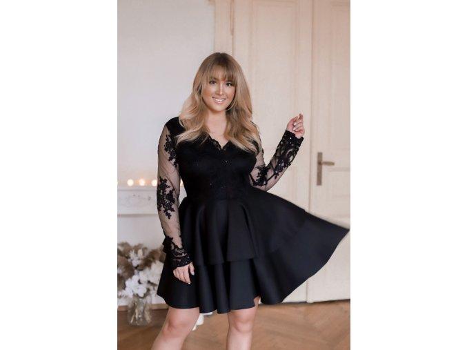 Černé minišaty s velkou sukní (Veľkosť XL)