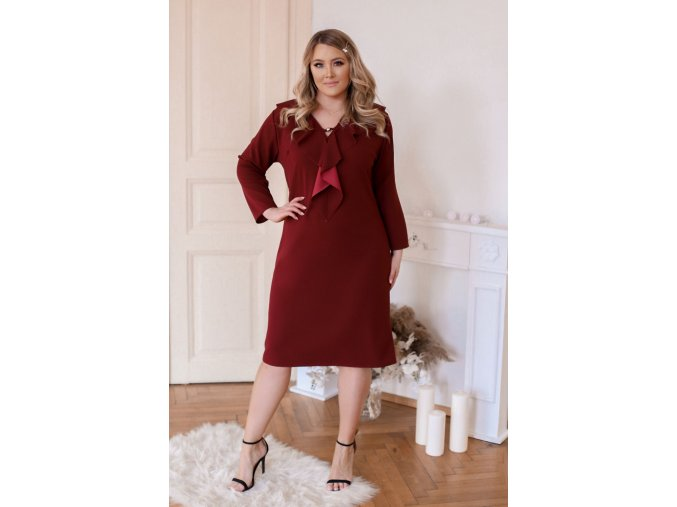 Vínové šaty s volány (Veľkosť XXXXL)