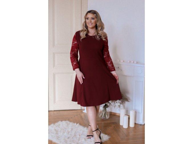 Vínové šaty áčkového střihu s krajkou na rukávech (Veľkosť XXXXL)