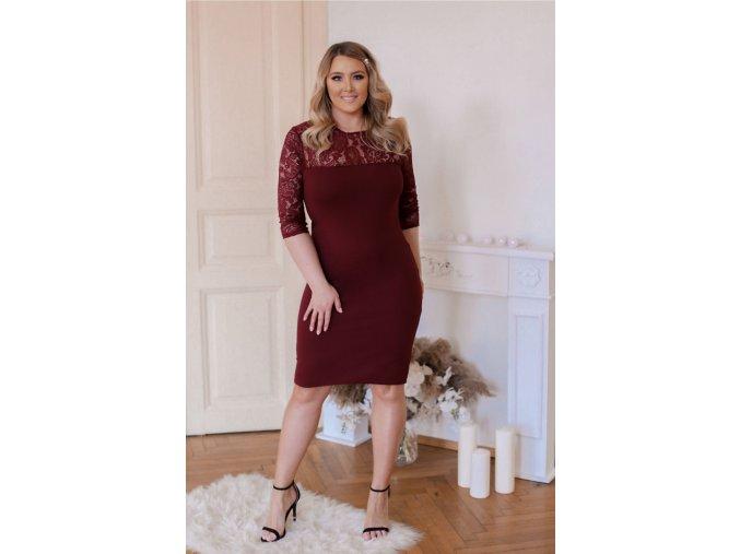 Vínové šaty s krajkovým vrchem (Veľkosť XXXXL)