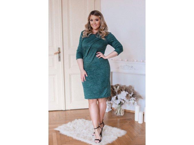 Zelené svetrové šaty s volánem (Veľkosť XXXXL)