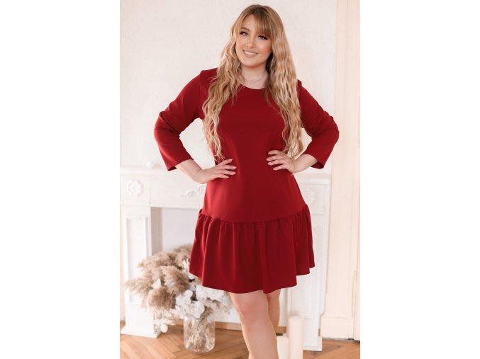 Vínové šaty s nařasenou sukní (Veľkosť XXXXL)