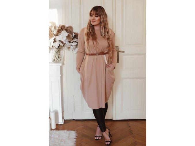 Béžové svetrové šaty s širokými kapsami (Veľkosť XXXL)