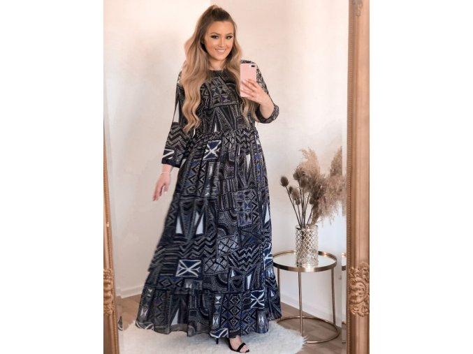 Černo-modré vzorované šaty s dlouhým rukávem (Veľkosť XXXL)