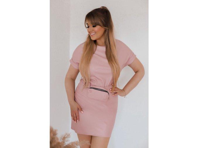 Růžové koženkové šaty s páskem (Veľkosť Univerzální)
