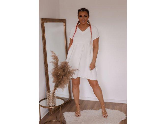 Bílé volné šaty (Veľkosť XL)
