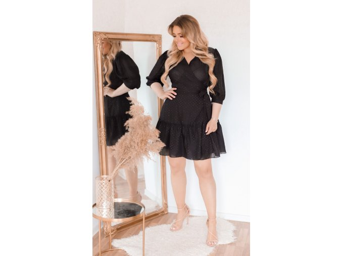 Černé zavinovací šaty (Veľkosť XL)