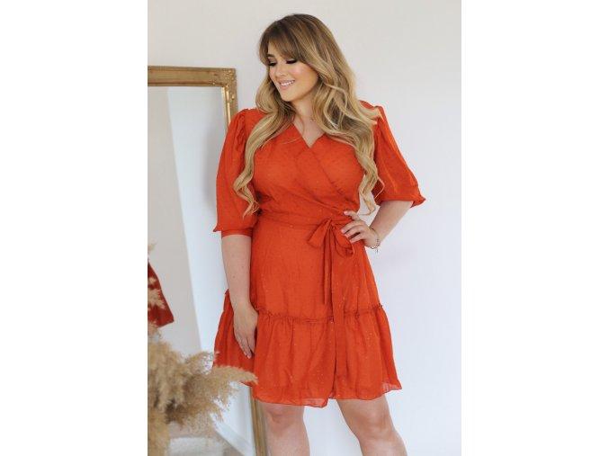 Cihlově-oranžové zavinovací šaty (Veľkosť XL)