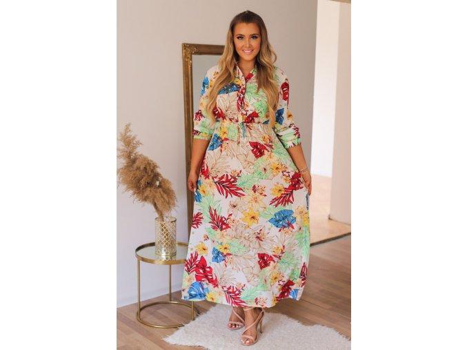 Bílé šaty s barevným květinovým vzorem (Veľkosť XXL/XXXL)