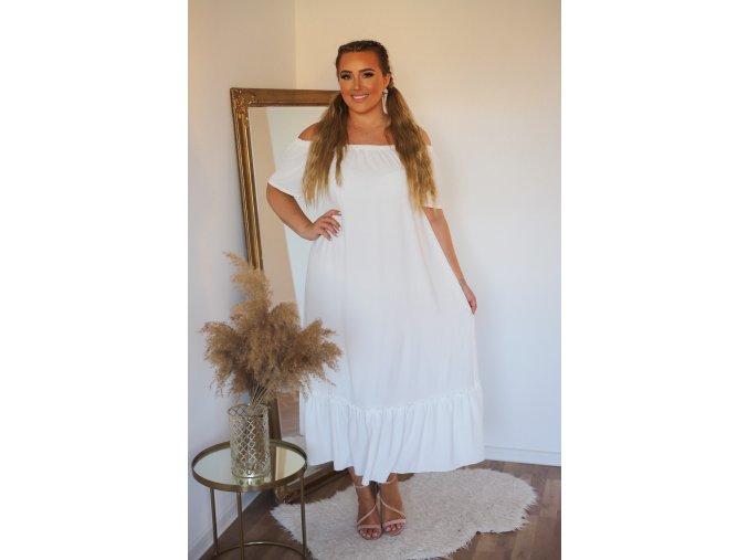 Dlouhé volné bílé šaty s odhalenými rameny (Veľkosť L/XL)