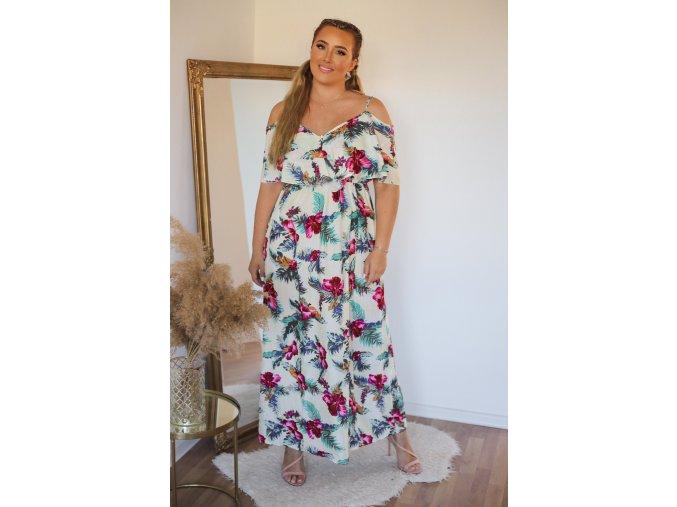 Dlouhé bílé šaty s tropickým vzorem (Veľkosť S/M)