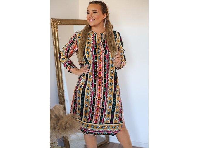 Košilové šaty s aztéckým vzorem - oranžová (Veľkosť XXL/XXXL)