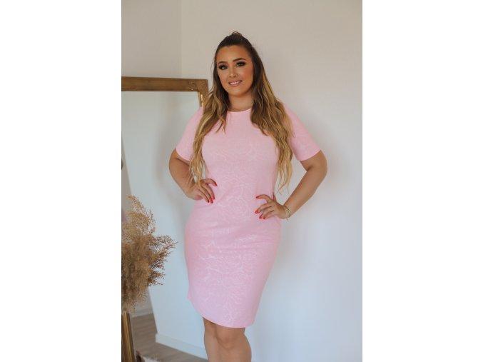 Světlo-růžové šaty s jemným vzorem růží (Veľkosť XXXXL)