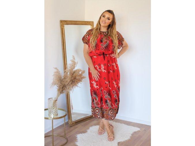 Dlouhé červené vzorované šaty s páskem (Veľkosť L/XL)