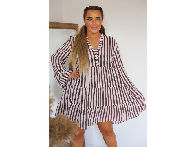 Krátké proužkované šaty s dlouhým rukávem (Veľkosť XXXL)