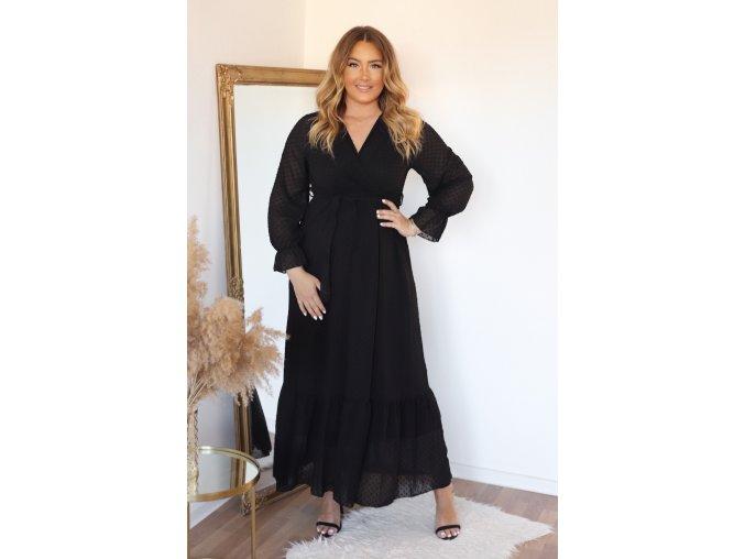 Dlouhé černé puntíkované šaty s páskem (Veľkosť L)