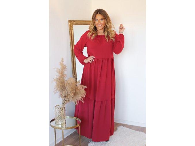 Dlouhé volné šaty s dlouhým rukávem v bordó (Veľkosť XL/XXL)
