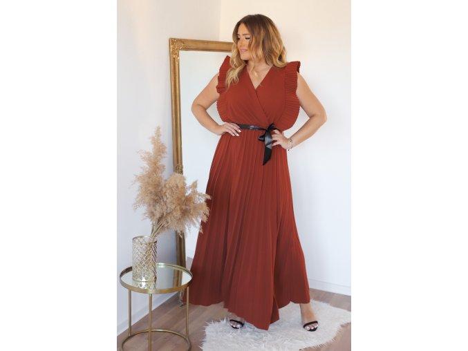 Hnědé šaty s volánem a saténovým páskem (Veľkosť XL)