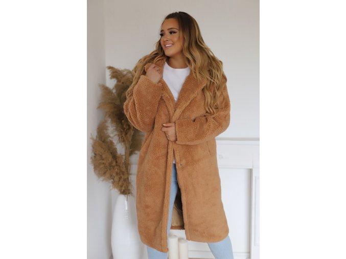 Hnědý teddy kabát (Veľkosť L/XL)