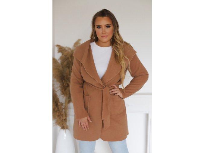 Dámský kabát v hnědé barvě (Veľkosť L)