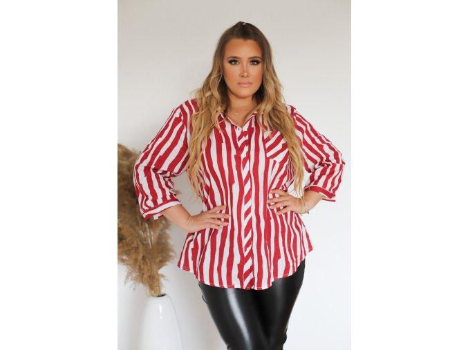Proužkovaná bílo-červená košile (Veľkosť XXXL)