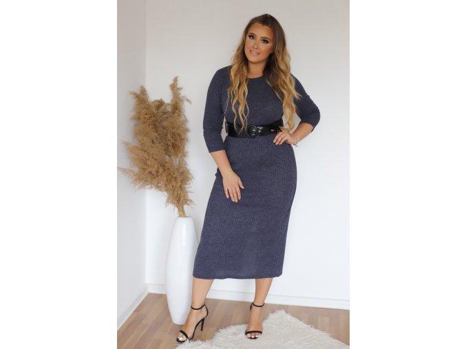 Tmavě-modré svetrové šaty s páskem (Veľkosť XXXXL)