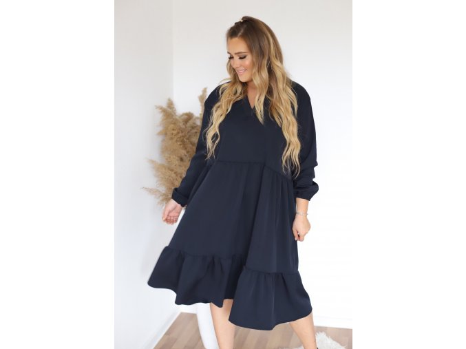 Tmavě-modré oversize šaty s dlouhým rukávem (Veľkosť XL/XXL)