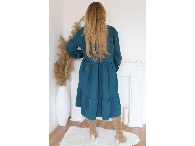 Oversize šaty s dlouhým rukávem v petrolejové (Veľkosť XL/XXL)