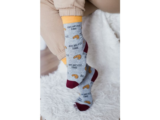 Šedé ponožky Breakfast time (Veľkosť 38-41)