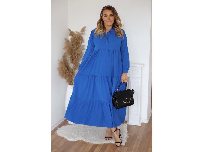 Dlouhé prošívané košilové šaty v modré barvě (Veľkosť L/XL)
