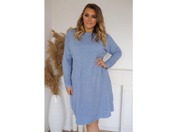 Volné svetrové šaty v světle modré (Veľkosť XXXL)