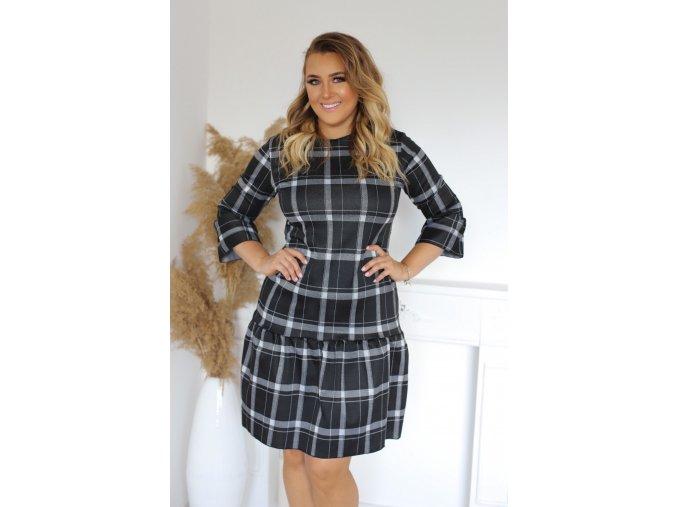 Krátké černé kárované šaty (Veľkosť XXXXL)