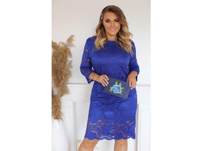 Modré krajkové šaty (Veľkosť XXXXL)