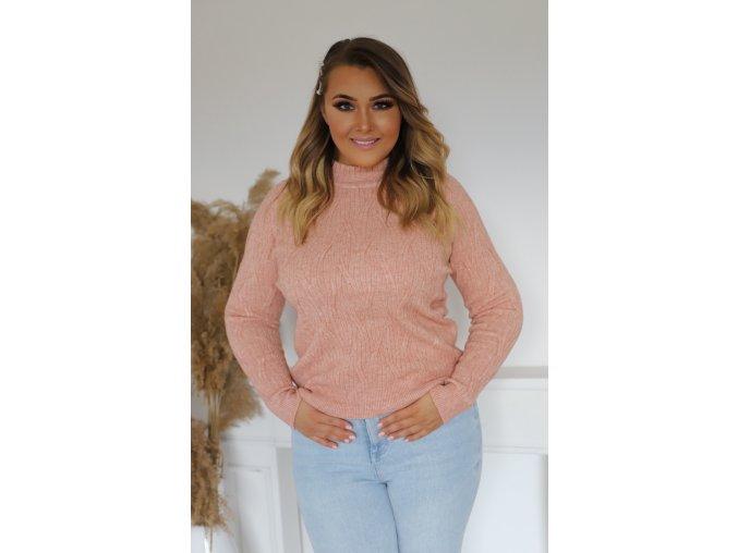 Dámský svetr v růžové barvě (Veľkosť XL/XXL)