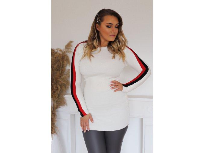 Bílý prodloužený svetr s proužkem na rukávu (Veľkosť XL/XXL)