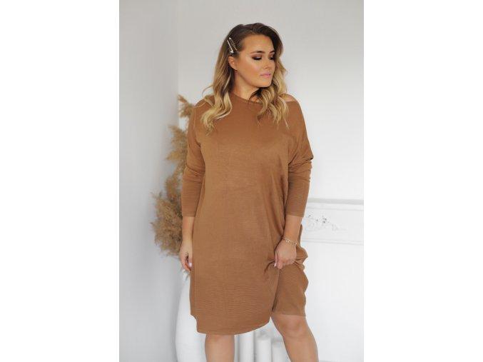 Volné svetrové šaty v hnědé (Veľkosť XXXL)