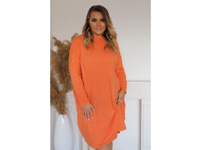 Volné svetrové šaty v oranžové (Veľkosť XXXL)