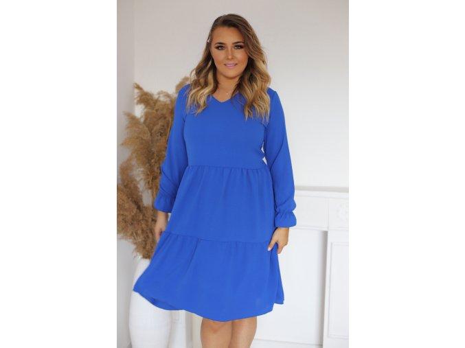 Modré šaty s dlouhým rukávem a výstřihem do V (Veľkosť XXXL)