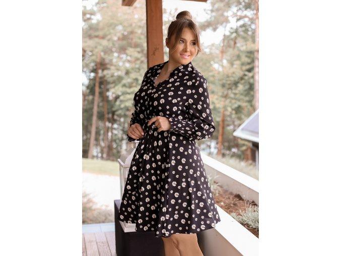 Černé košilové šaty s květinami (Veľkosť XXXXL)